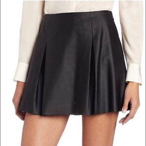 BCBG Pleated Vegan Faux Leather Skirt Black 6/M